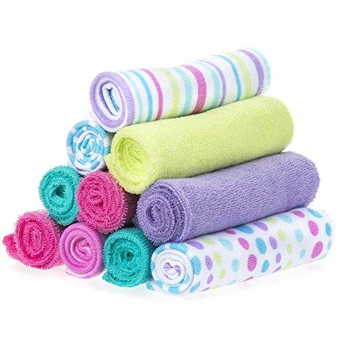 Spasilk Baby 10 Pack Soft Terry Bath Washcloth Wipes