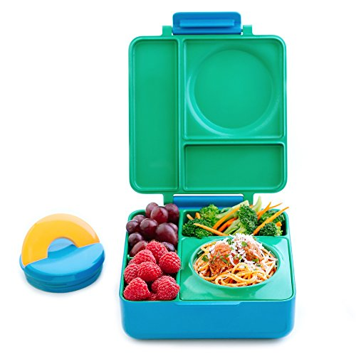 OmieBox - 3 Compartment Bento Lunch Box + Thermos Food Jar for Kids - Leak-Proof and Insulated - Two Temperature Zones for Hot & Cold Food (Meadow)