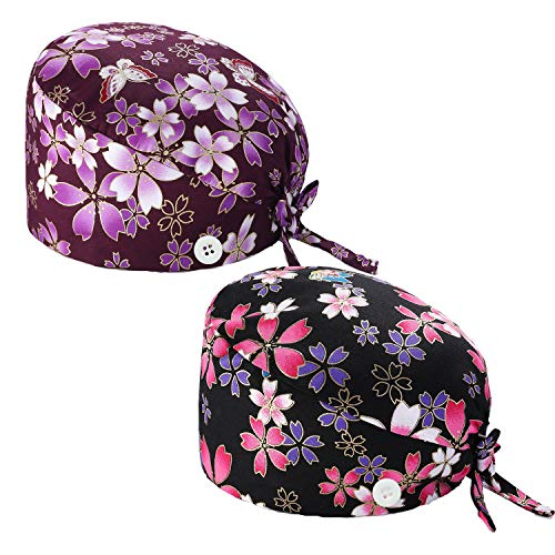 NDLBS 2Pieces Upgrade Working Cap with Buttons, Sweatband Adjustable Tie Back Hats Printed for Women Men