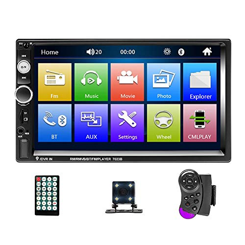 Mosufit Double Din Car Stereo Car Audio with Bluetooth FM Radio Receiver, 7' Digital LCD Touchscreen, MP3/MP5/USB/SD, Wireless Remote Control, Rear View Camera, Steering Wheel Control