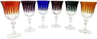 6 Verres à Vin Rouge et à Eau en Cristal à Pied - 6 Couleurs Assorties - Service Roemer Concorde (17 cl) - Artisan du Cris...