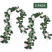 Guirnalda de rosas artificiales de PartyKindom de 6.6 pies, para decoración de boda, decoración de hogar, jardín, corona de flores, 2 unidades