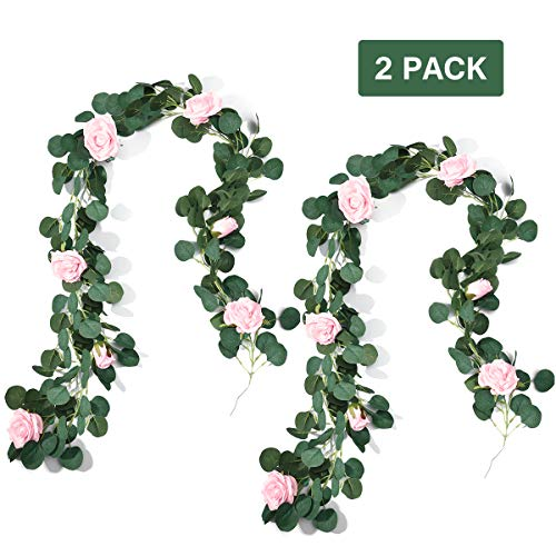 Preisvergleich Produktbild PartyKindom 6.6 FT / 2M Artificial Rose Flower Garland,  Hanging Flower Strings for Wedding Decorations Backdrop Home Wall Décor 2 Pack