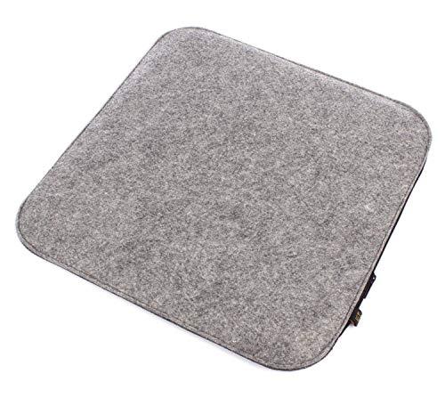 Juego de 6 cojines de asiento Luxflair de fieltro gris/gris oscuro/gris oscuro para girar, lavables, suaves y acolchados con cremallera. Cojín de asiento cuadrado aprox. 35x35cm