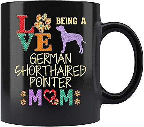 """DKISEE Taza de té de cerámica con diseño de puntero alemán de pelo corto, con texto en inglés """"Love Being GSP Mom"""""""