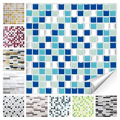 Wandora 1 Stück Fliesenaufkleber 25,3 x 25,3 cm blau türkis Silber Design 20 I 3D Mosaik Fliesenfolie Küche Bad Aufkleber W1536