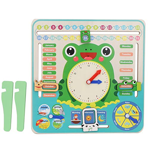 Atyhao Kinder Kalender Uhr Board, Cartoon Holz Kalender Uhr Early Time Cognition Lernspielzeug für Erfahren Sie mehr über Jahreszeiten Wetter Monate Wochentage