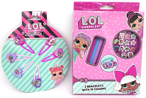 TDL L.O.L. Surprise Set De Regalo 3 Pulsera + 18 Colgante + 6 Pinzas De Cabello - Licenciado Oficialmente - 3 Bracelets + 18 Charms + 6 Hair Clips - Gift Bundle