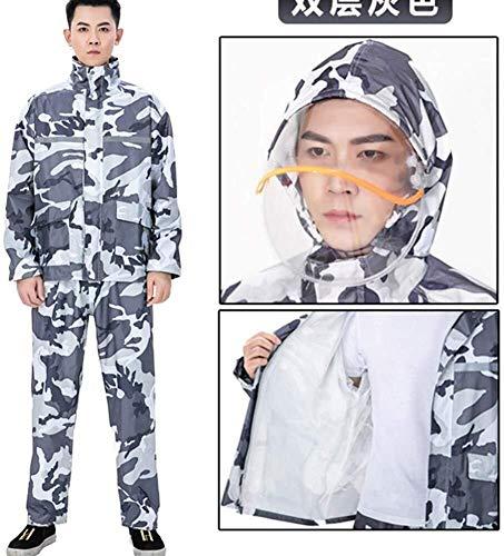 Wasserdichter Regenmantel Outdoor wasserdichte Kleidung/wasserdichte Regenjacke Set Large-Kapuzenjacke Raincoat Regenmantel (Color : Double Layer Gray, Size : Large)