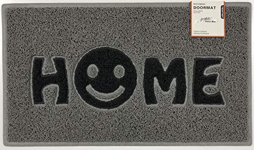 Nicoman Home Smiley Face Vinyl Schlingen Fußmatte, Vinylschlingen, Grau mit schwarzen Einsätzen, 75x44cm