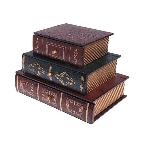 LessLIFE Caja de almacenamiento de joyería, caja de almacenamiento organizador de escritorio de madera vintage retro libro diseño regalos joyería caso