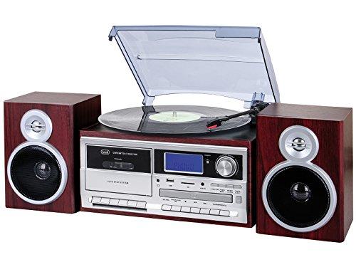 Trevi TT 1070 E - Tocadiscos (Tocadiscos de tracción Directa, Plata, Madera, 33,45,78 RPM, 33,45,78 RPM, Giratorio, Am,FM). Madera