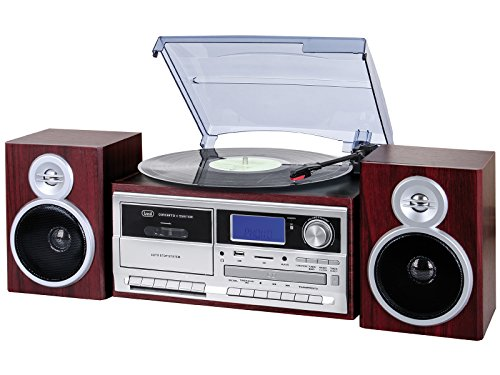 Trevi TT 1070 E Bluetooth stereo platenspeler met encoding, MP3-speler, CD, USB, AUX-In, SD, musicassette, radio AM/FM Hout.