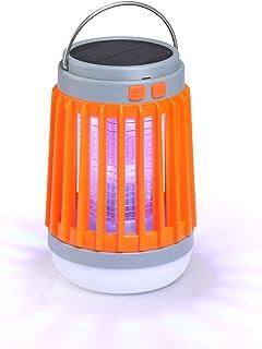 Homeme LEDランタン 蚊取り 懐中電灯 3in1機能 ソーラー充電 USB充電式 昼白色 5つのモード IP67完全防水 UV光源誘引式 電撃殺虫灯 薬剤不要 静音 家庭用 キャンプ用 オレンジ
