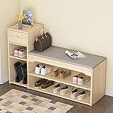 Bancos con cajones Caja de zapatos de almacenamiento de 2 niveles / banco, zapatos blancos Rack de almacenamiento de madera con cajón y cómodo Cojín de asiento gris Cojín de la organización Mobiliario