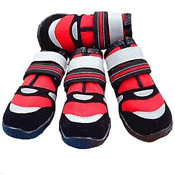 VICTORIE Bottes Chien Chaussure Respirantes Chausson Antidérapant Étanche Randonnée Voyage Montagne 4PCS Rouge S