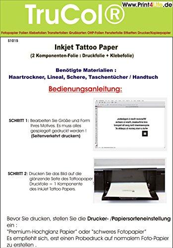 Tattoo – Transferfolie FÜR DIE Haut - zum aufkleben und selbst gestalten - für Inkjet Tintenstrahldrucker (A4 – 5 Blatt) - Tattoofolien
