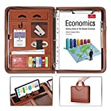 AtailorBird Padfolio, PU Leather Zippered Portfolio Folder with Phone Stand Holder & 3 Ring Binder Document Organizer for Business Interview Office, Brown