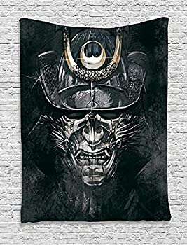 ADAM MARTINEZ JR Japanese Decor Collection Fearful War Mask Facial Armour of Samurai Asian Medieval Culture Horror Spooky Theme Bedroom Living Room Dorm Wall Hanging Tapestry Black Grey
