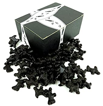 Cuckoo Luckoo All Natural Black Licorice Scottie Dogs 2 lb Bag in a BlackTie Box