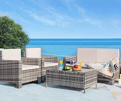 Homall 4 Pieces Outdoor Patio Furniture Sets Rattan Chair Wicker Conversation Sofa Set, Outdoor Indoor Backyard Porch Garden Poolside Balcony Use Furniture (Gray)