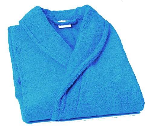 Lasa Pure Albornoz con Cuello Tipo Smoking, algodón 100%, Turquesa, XL