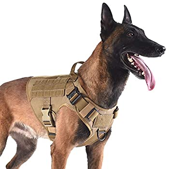 ICEFANG Tactical Dog Harness with 2X Metal Buckle,Dog Walking Training MOLLE Vest with Handle,No Pulling Front Leash Clip,Hook and Loop for Dog Patch  L  28 -35  Girth  Coyote Brown