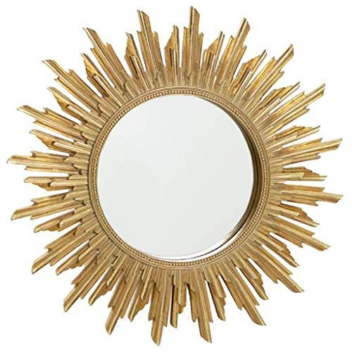 UP6Per Espejo Colgante de Pared en Forma de Sol de 27 Pulgadas, Espejo Decorativo Grande de Oro, Espejo de tocador de baño Simple Simple
