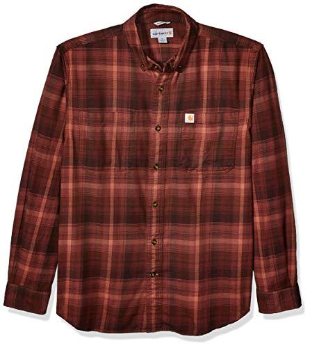 Carhartt Herren Rugged Flex Hamilton Plaid Flannel Shirt Button Down Hemd, Dark Cedar, Groß