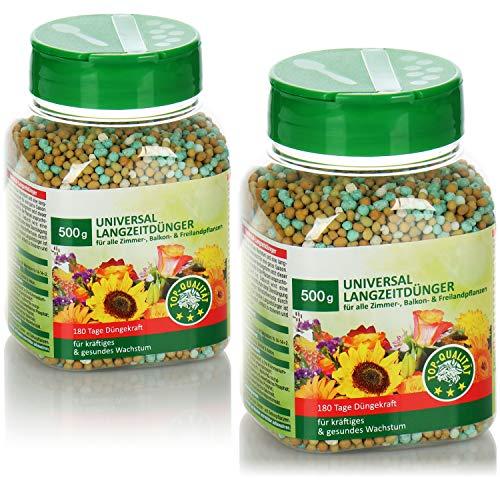 com-four® 2X 500g Universaldünger, ausgewogener Langzeitdünger für alle Zimmer-, Balkon- und Freilandpflanzen, für kräftiges und gesundes Wachstum