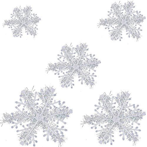 Simuer - 45 copos de nieve navideños de plástico para Navidad, para árbol de Navidad, decoración para fiestas, 11 cm, 15 cm, 18 cm, 23 cm, 30 cm