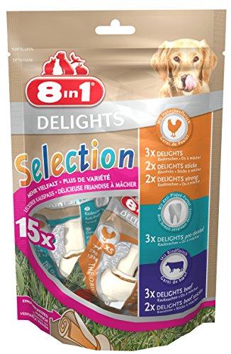 8in1 Delights Selection Lot de 15 friandises pour Chien Taille XS 248 g