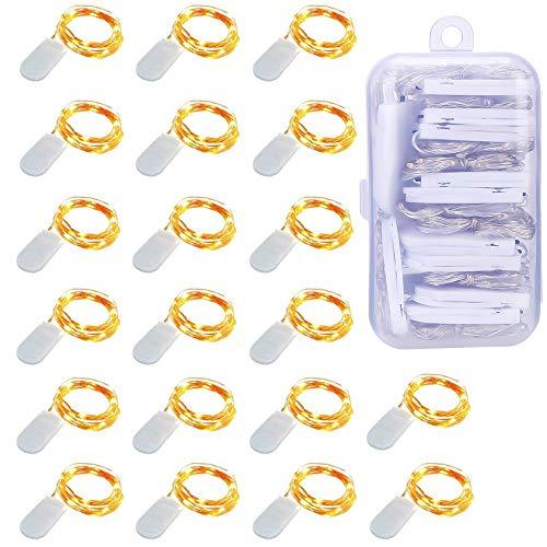 Luci LED a Batteria【20 Pezzi】Micro Luci Stringa 1M Filo di Rame con 10 LEDs Impermeabile Catena Luminosa Natale per Esterni e Interni, Feste, Matrimonio, Casa, Luce Gialla Calda