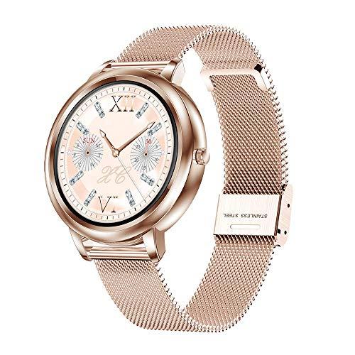 KUCE Smartwatch,Fitness Orologio da donna – IP67 impermeabile per sport sanitari con frequenza cardiaca, pressione sanguigna, sonno, contatore calorie, contapassi, promemoria SMS per iOS Android (oro)