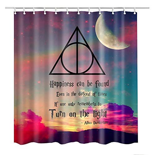 Bartori Duschvorhang, bunte Wolke & Mond mit den Heiligtümern des Todes in Harry Potter, wasserdichter Polyester-Stoff, Badvorhang mit 12 Haken & Größe 180 x 180 cm, schöne Dekoration