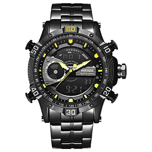 Zwbfu WH6902 Pantalla Dual Reloj Digital de Cuarzo de Dos Movimientos Reloj para Hombre con 3ATM Luz de Fondo LCD a Prueba de Agua Alarma Deportiva Calendario Semana Auto Fecha Cronómetro