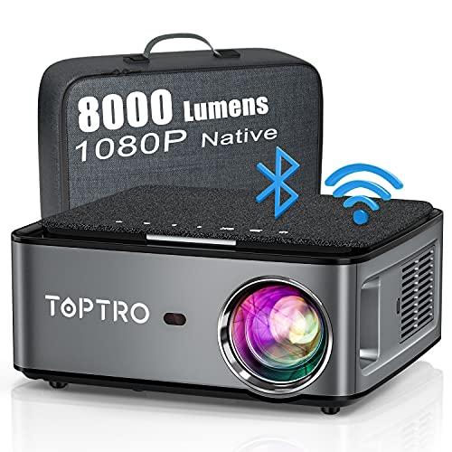 Vidéoprojecteur WiFi Bluetooth Full HD 1080P ,8000 Lumens TOPTRO 5G Projecteur Portable Supporte 4K Rétroprojecteur Compatible iPhone Android Téléphone,PPT Présentation