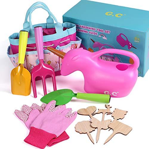 Garten Werkzeuge Gartenarbeit für Kinder Gartengeräte Spielwerkzeug Garten mit Gartenwerkzeug Tasche Einhorn Gießkanne Spaten Schaufel Harke Handschuhe Pflanzenschilder Einhorn Geschenk für Mädchen