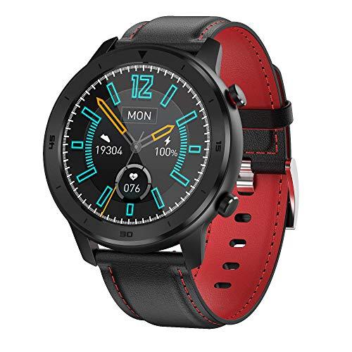 Bluetooth Smart Watches Fitness-Tracker & Herzmonitor & Blutdruck wasserdichte Aktivitäts-Tracker & Schlafmonitor & SMS-Anrufbenachrichtigungsuhr-rotes Leder