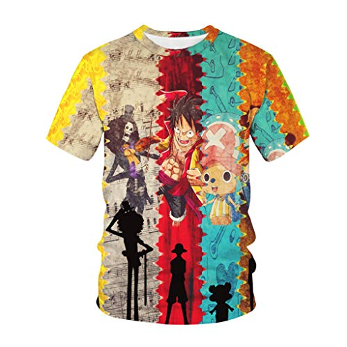 Camiseta One Piece, 3D Luffy Zoro Ace Law Chopper Anime Cosplay T-Shirt Casual Camiseta Anime One Piece Manga Corta Camisetas Ropa Camisa Deportiva Sudadera Tops para Hombre Mujere Niños