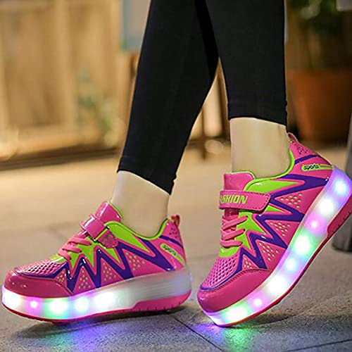 XRDSHY Zapatos con Ruedas Rueda Doble LED Luces Luminosas con USB Carga Retirable Aire Libre Gimnasia Patines Rueda Automática Zapatos Deportivo Correr Niños Niñas, pink-39