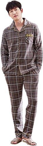 Pyjama en Coton Ensemble Hommes Revers Manches Longues vêteHommests de Nuit applicables pour Les Quatre Saisons marron Plaid Grande Taille Chemise de Nuit Cadeau de Nouvel an Ensembles de