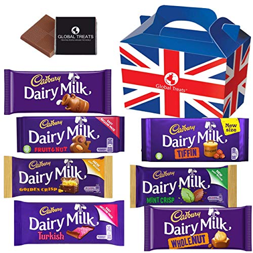 Cadbury Chocolate Bars - Selection of Cadbury UK Chocolate. 7 Irish Chocolate Bars of Delicious Cadbury Chocolate from The UK with Unique Gift Box and a Free Chocolate.