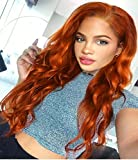 Zenith 2018 Daily Design Series- Natural Looking Auburn Wigs #360 Copper Red Lace Front Wigs Wavy hair Synthetic Lace Wig for Afros 24 inches High Density 150%