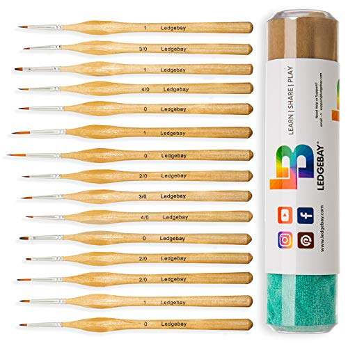 Ledgebay Miniature Paint Brushes Fine Tip Brush Set for Micro Detail | Hand Crafted, Perfectly Balanced and Weighted Wood Handles, Taklon Bristles for Model, Acrylic, Oil, Watercolor (15, Wood)