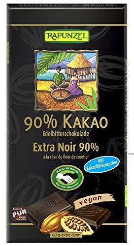 Rapunzel Bio Bitterschokolade 90% Kakao mit Kokosblütenzucker (6 x 80 gr)