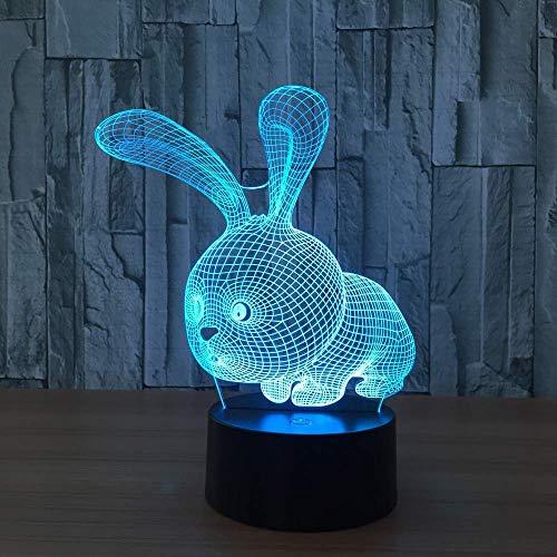 3D LED nachtlampje mooie konijnvorm 3D sfeerlicht LED-lamp met drukknop plank party voor kinderen beste poollicht voor kinderen