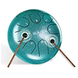 Ulalov Steel Tongue Drum 8 Notes 6 inches Handpan Drum, Steel Drums Portable and Easy to C...