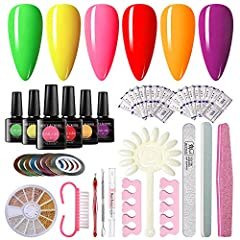 ❤Summer Neon Gel Nail Polish Starter Kit: this kit comes in six bright colors gel nail polishes. These colors will not be as dull as matte, and they will be very bright and lively on your nails. Also we have provide some other manicure tools, they ca...