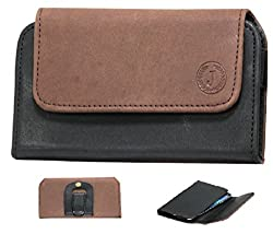 J Cover A4 Nillofer Belt Case Mobile Leather Carry Pouch Holder Cover Clip for Samsung Galaxy On Nxt Brown Black